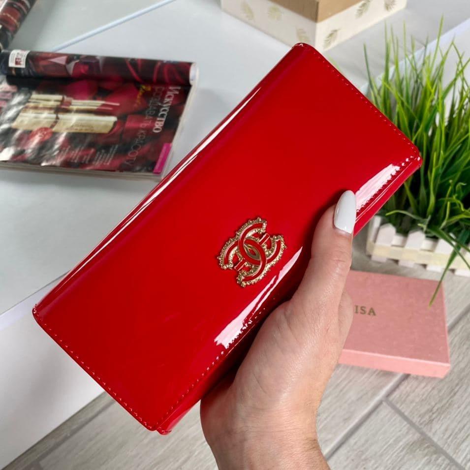 Женский лаковый кошелёк в стиле Шанель красный КШК77