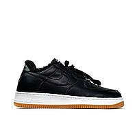 Nike Air Force 1 Low Black White (Мех) (Черный)