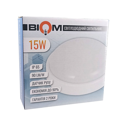 Світильник світлодіодний ЖКГ BIOM SMPL-R15-6 15Вт 6000К коло. sensor