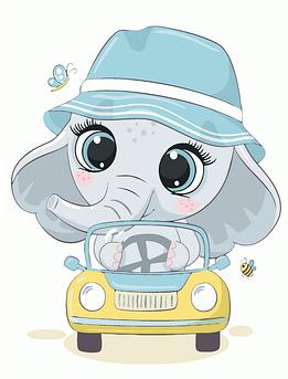 Картина по номерам Слоненок в панамке BrushMe 30 x 40 см (MEX7121)