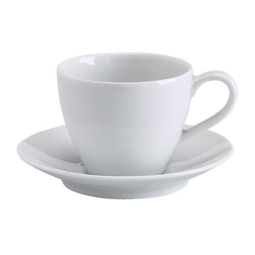 ИКЕА (IKEA) ВЭРДЕРА, 602.774.63, Чашка кофейная с блюдцем, белый, 20 сл - ТОП ПРОДАЖ