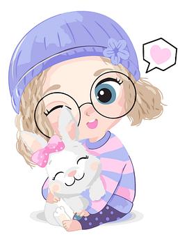 Картина по номерам Девочка с кроликом BrushMe 30 x 40 см (MEX7124)
