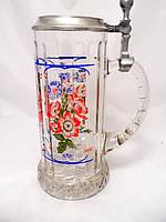 Кружка пивная, стеклянная, Олово Германия 0,6л, фото 1