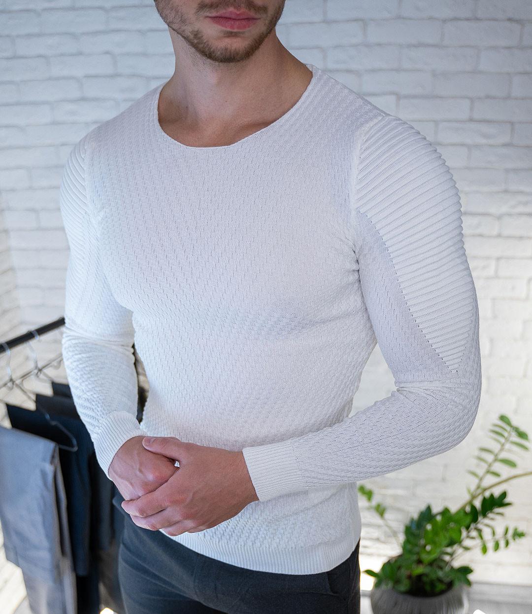 Мужской свитер Белый приталенный / Турция Белый, XL