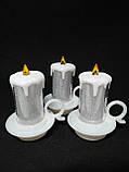 Свечи  светодиодные мерцающие  белые  перламутровые набор 12 шт, фото 2
