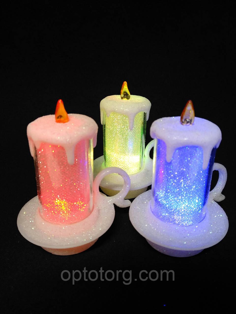 Свечи  светодиодные мерцающие  белые  перламутровые набор 12 шт