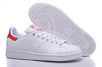 Женские кроссовки Adidas Stan Smith бело-красные