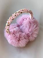 Меховые наушники вышитые розовые ручная работа, фото 1