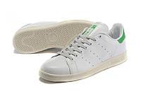 Женские кроссовки Adidas Stan Smith бело-зеленые, фото 1