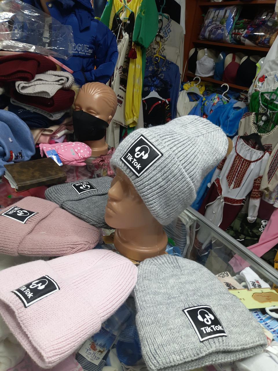 Зимова в'язана шапка для дівчинки р. 52-56