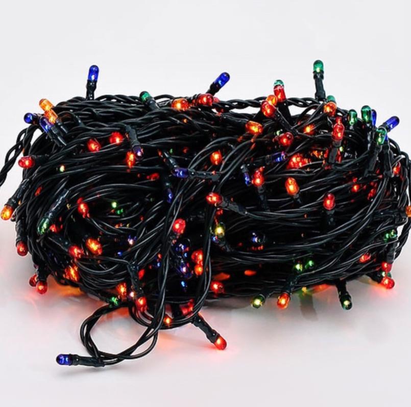 Новогодняя гирлянда Xmas Нить 140 ламп МУЛЬТИК черный провод 5,5 метров
