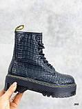 Женские ботинки ДЕМИ черные на шнуровке эко кожа рептилия / питон, фото 2