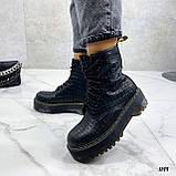Женские ботинки ДЕМИ черные на шнуровке эко кожа рептилия / питон, фото 3