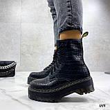 Женские ботинки ДЕМИ черные на шнуровке эко кожа рептилия / питон, фото 4