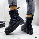 Женские ботинки ДЕМИ черные на шнуровке эко кожа рептилия / питон, фото 6