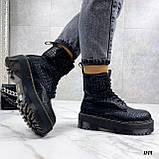 Женские ботинки ДЕМИ черные на шнуровке эко кожа рептилия / питон, фото 7