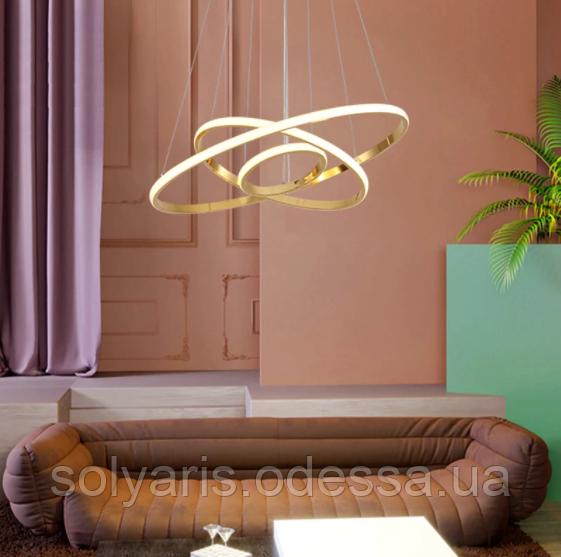 LED люстра подвес кольца с диммером, 110W MD7990-3AHR-600+400+200 dimmer (хром,