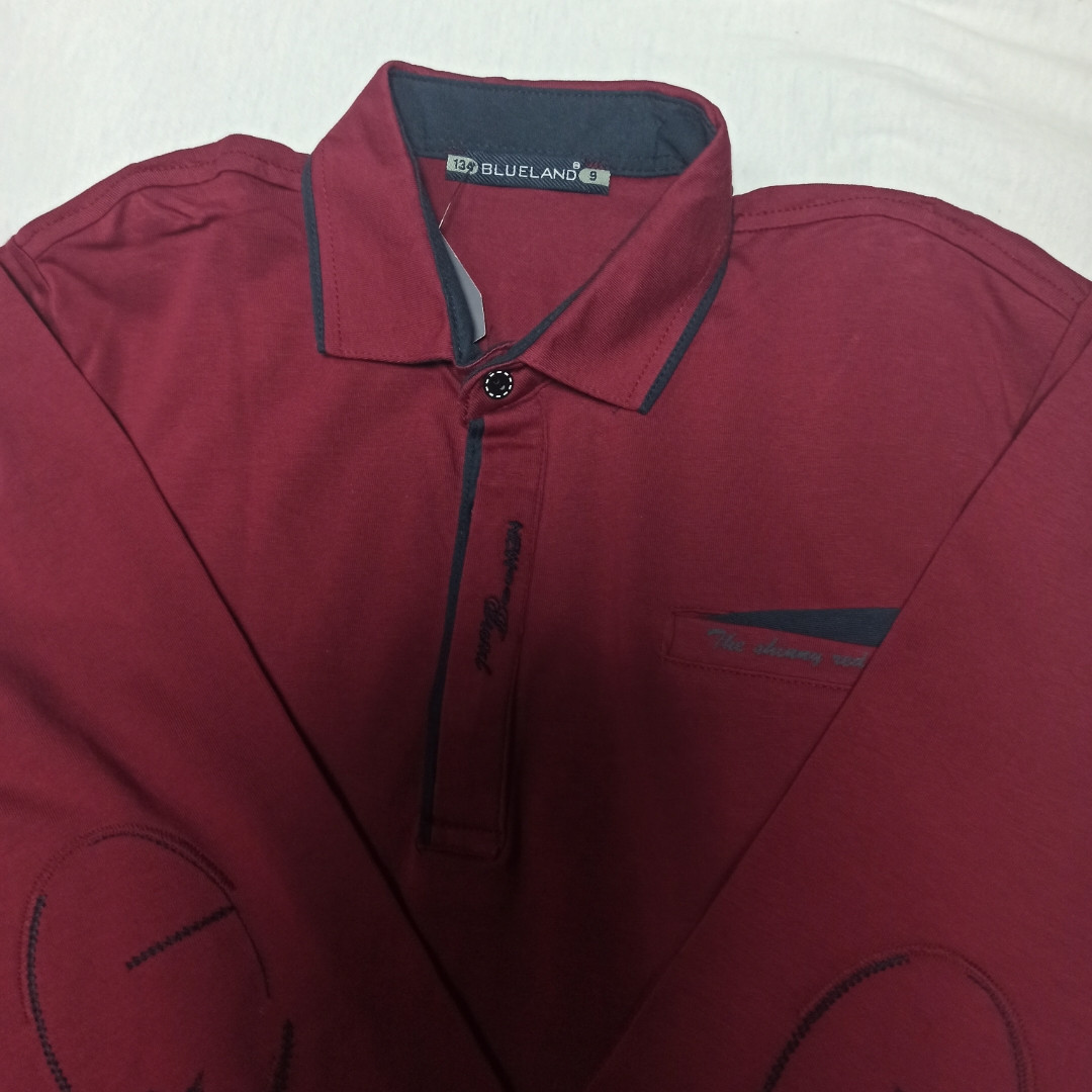 Рубашка модная красивая нарядная трикотажная для мальчика. Стильная и оригинальная. Цвет- бордо.