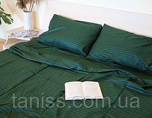 Семейный набор постельного белья из страйп-сатина, 100% хлопок,  цвет темно зеленый