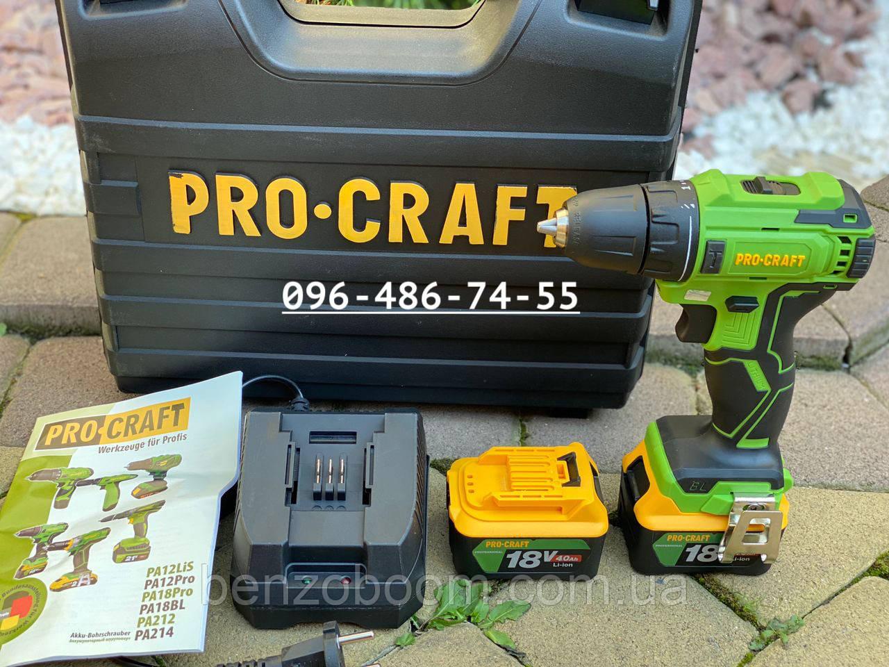 Шуруповерт аккумуляторный Procraft PA18BL 18 вольт