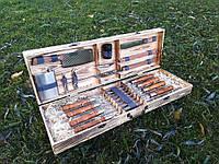 """Набор из 8 шампуров """"Lux"""" (630х12х3 мм) + комплект аксессуаров в деревянном кейсе"""