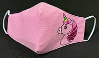 Детская защитная маска Batiar Батяр многоразовая трехслойная с вышивкой Unicorn (D-09-16)