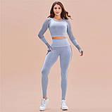 Спортивный костюм женский для фитнеса. Комплект бесшовный рашгард, леггинсы, фитнес костюм (серый), фото 3