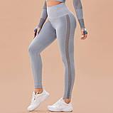 Спортивный костюм женский для фитнеса. Комплект бесшовный рашгард, леггинсы, фитнес костюм (серый), фото 7