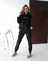Утепленный женский велюровый костюм с худи черный одежда от производителя XS/S, M/L