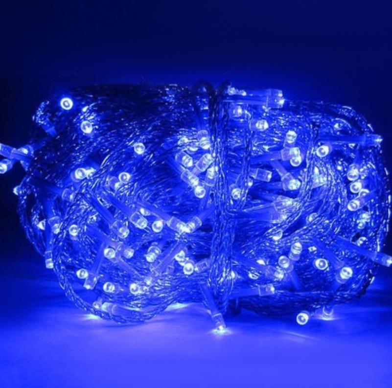 Гирлянда Новогодняя Xmas Нить 100 LED СИНИЙ (прозрачный провод,10 метров)