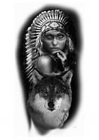 """Наклейка """" Девушка и волк""""  48*25 см  (1шт)   нт 0007"""
