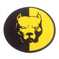 Наклейка  Питбуль черно-желтая круглая большая   (15см)
