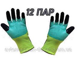 Перчатки полиэстер + заливка пенная  (12 пар ) зелено/черная  NEW