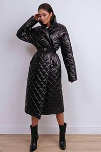 Стильное стеганое пальто-пуховик с поясом 42-46 р