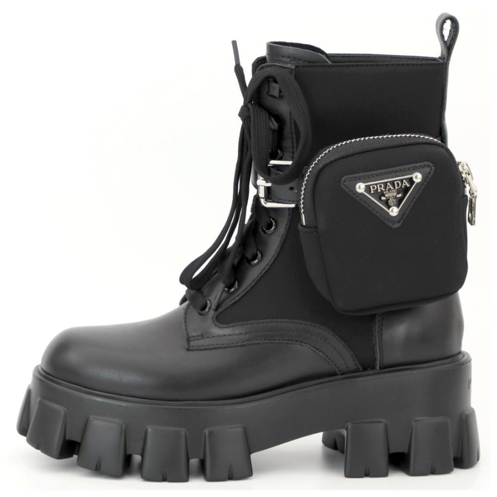 Женские зимние ботинки Prada Monolith Low зимові ботінки Prada черевики Prada Monolith Black прада монолит