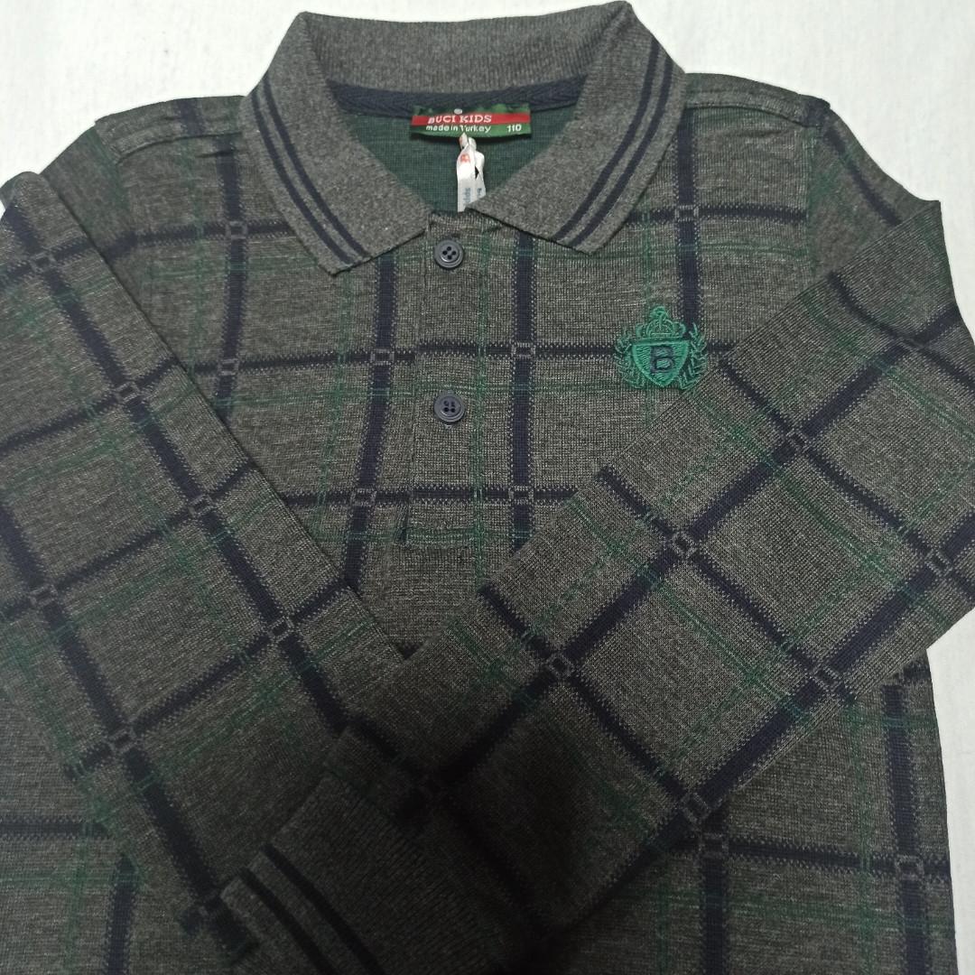 Рубашка модная красивая нарядная трикотажная для мальчика. Рукав на манжете. Низ на манжете. Стильная.
