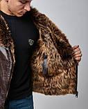 Дубленка мужская из натурального меха и кожи коричневая. Мех овчина. Турция, фото 3