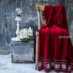 Плед Новогодний 140*180 красный с орнаментом