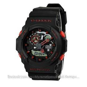 Годинники наручні чорні Casio G-Shock GA-300 Black-Red / касіо джишок чорні з червоним