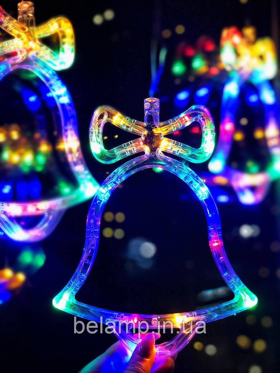 Новогодний колокольчик разноцветный: украшение на окно. цена за 1 колокольчик