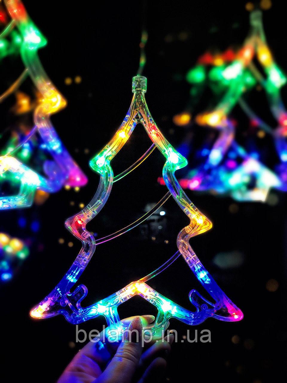 """Новогоднее украшение на окно в виде елки """"Разноцветная елочка"""". Цена за 1 елочку"""