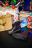 Женские зимние ботинки Dr. Martens Jadon Glitter ТЕРМО черные осень-зима. Живое фото. Реплика (мартинсы), фото 6