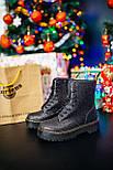 Женские зимние ботинки Dr. Martens Jadon Glitter ТЕРМО черные осень-зима. Живое фото. Реплика (мартинсы), фото 7