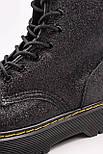 Женские зимние ботинки Dr. Martens Jadon Glitter ТЕРМО черные осень-зима. Живое фото. Реплика (мартинсы), фото 8