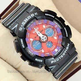 Годинники наручні чорні Casio GA-120 Black-Purple-Red / касіо джишок чорні з червоним