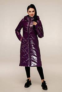 Фиолетовый женский лаковый пуховик, размеры 44-54