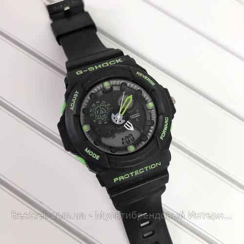 Часы наручные черные Casio G-Shock GA-300 Black-Green / касио джишок черные с зеленым