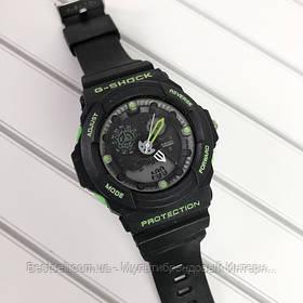 Годинники наручні чорні Casio G-Shock GA-300 Black-Green / касіо джишок чорні з зеленим