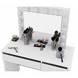 Туалетный Столик косметический трюмо с большим зеркалом с подсветкой МДФ ламинированной с двух сторон белый, фото 5