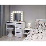 Туалетный Столик косметический трюмо с большим зеркалом с подсветкой МДФ ламинированной с двух сторон белый, фото 2